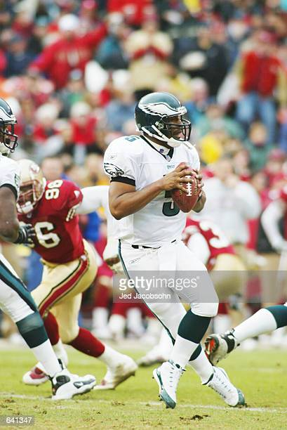 Quarterback Donovan McNabb of the Philadelphia Eagles drops back to throw a pass during the game against the San Francisco 49ers at 3Com Park in San...