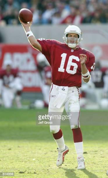 Quarterback Jake Plummer of the Arizona Cardinals throws a pass against the Dallas Cowboys at Sun Devil Stadium in Phoenix Arizona The Cardinals...
