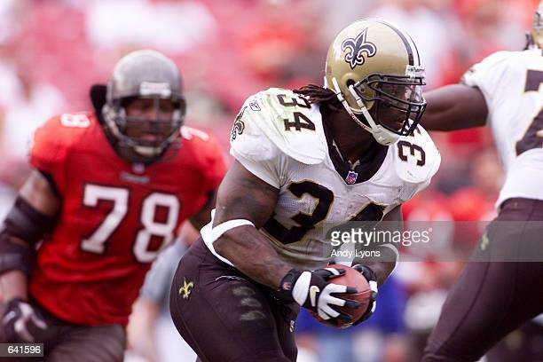 Ricky Williams of the New Orleans Saints in action against the Tampa Bay Buccaneers during the game at Raymond James Stadium in Tampa Florida The...