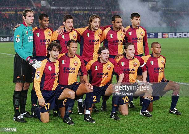 Roma team group before the UEFA Champions League Group B match between Roma and Liverpool at the Stadio Olimpico in Rome Italy The game ended 00...