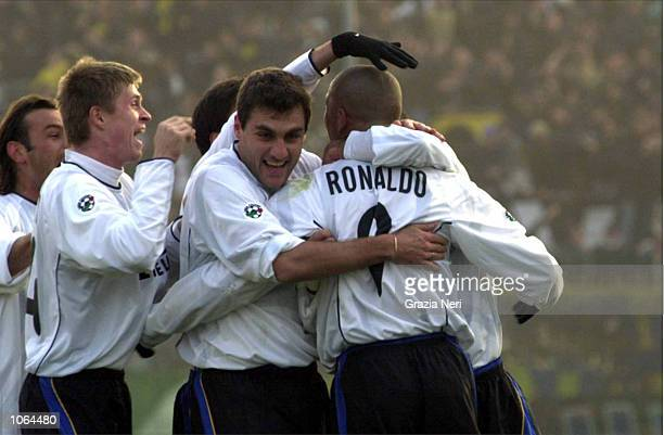 Ronaldo celebrates with fellow Inter Milan teamates during the Serie A League match played between Brescia and Inter Milan played at the Rigamonti...
