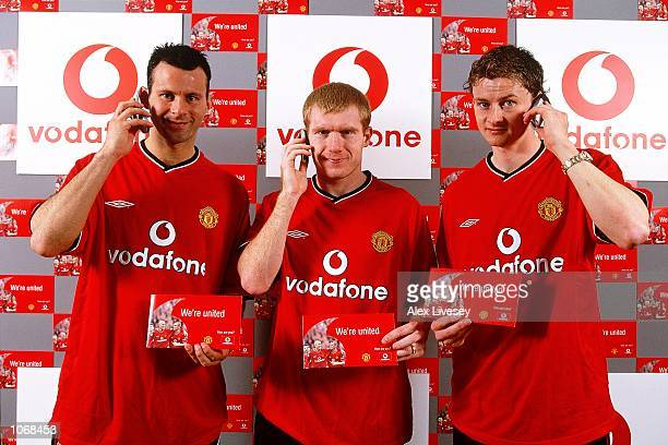 Ryan Giggs Paul Scholes and Ole Gunnar Solskjaer of Manchester United pictured during a Vodafone Commission shoot in Sale Manchester England...