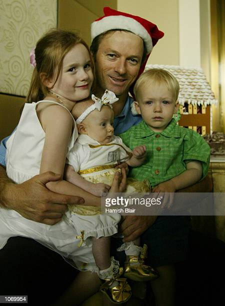 Steve Waugh of Australia with daughters Rosalei Lillian and son Austin at the Australian Team Christmas Lunch at Crown Casino Melbourne Australia...