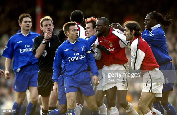 Tempers flare between Patrick Vieira of Arsenal and Graeme Le Saux of Chelsea during the FA Barclaycard Premiership match between Arsenal and Chelsea...