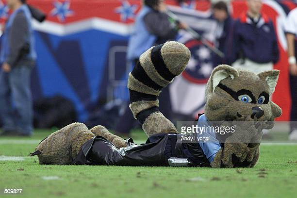 Tennessee Titans mascot lays on the field during the game against the Green Bay Packers at Adelphia Coliseum in Nashville Tennessee The Titans won...