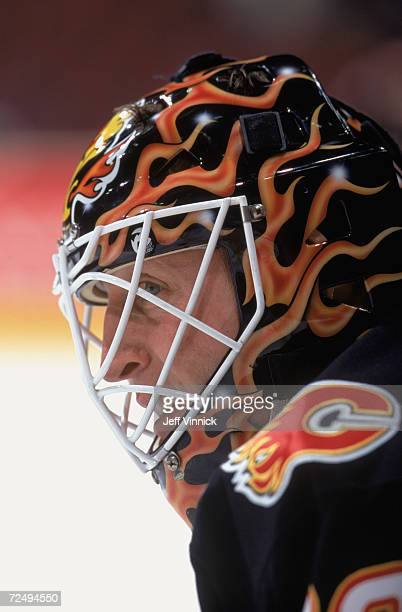 This is a close up of goalie Mike Vernon of the Calgary Flames The picture was taken during the NHL game against the Vancouver Canucks at the GM...