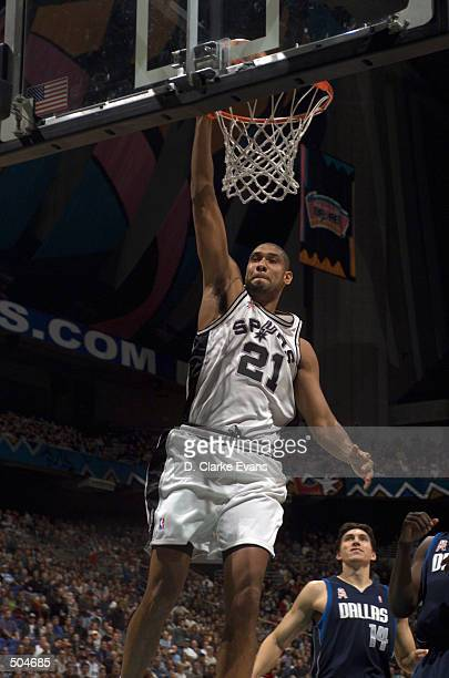 Tim Duncan of the San Antonio Spurs dunks during the first quarter against the Dallas Mavericks at the Alamodome in San Antonio Texas DIGITAL IMAGE...