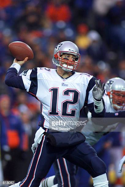 Tom Brady of the New England Patriots throws a pass against the Buffalo Bills during their game at Ralph Wilson Stadium in Orchard Park New York The...