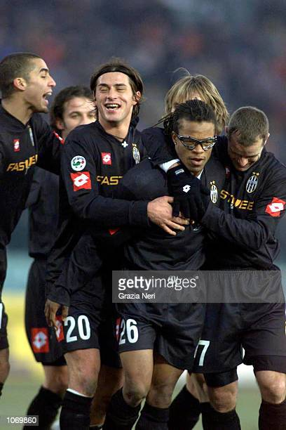 Trezeguet Tacchinardi Davids Pessotto Nedved Del Piero of Juventus celebrate during the Serie A 16th round League match between Brescia and Juventus...