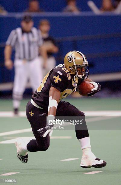Wane McGarity of the New Orleans Saints heads downfield against the Washington Redskins during the game at the Superdome in New Orleans Louisiana The...