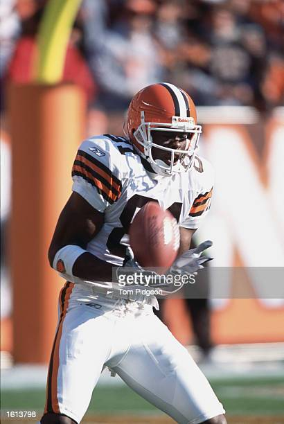 Wide receiver Quincy Morgan of the Cleveland Browns catches a pass during the NFL game against the Tennessee Titans at Browns Stadium in Cleveland...