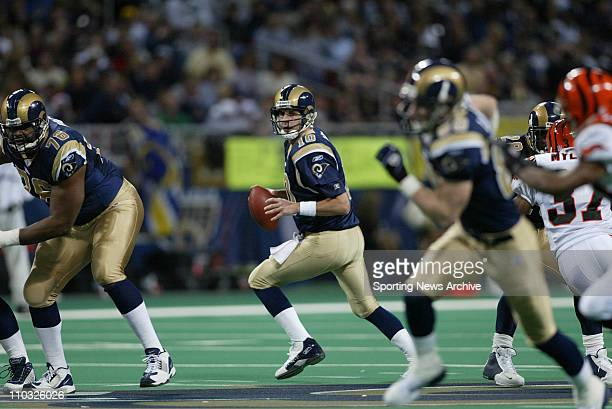 Marc Bulger of the St Louis Rams during the Rams 2710 victory over the Cincinnati Bengals at the Edwards Jones Dome in St Louis MO