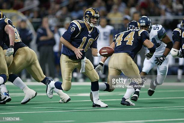 Marc Bulger of the St Louis Rams during the Rams 2722 victory over the Seattle Seahawks at the Edwards Jones Dome in St Louis MO