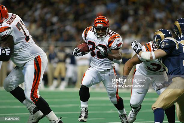 Rudi Johnson of the Cincinnati Bengals during the Bengals 2710 loss to the St Louis Rams at the Edwards Jones Dome in St Louis MO