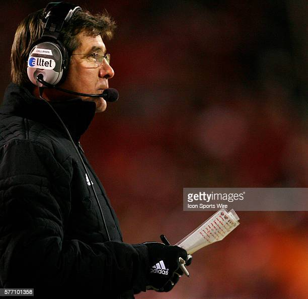 Nebraska Cornhuskers head coach Bill Callahan looks out onto the field against the Oklahoma Sooners in the first half during the Big 12 Conference...