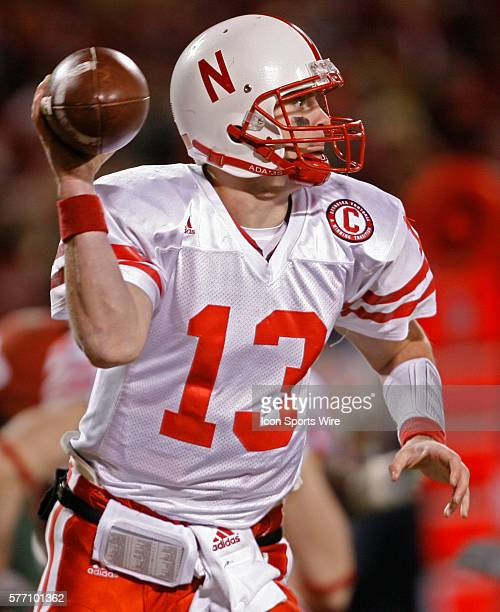 Nebraska Cornhuskers quarterback Zac Taylor looks to pass the ball against the Oklahoma Sooners in the first half during the Big 12 Conference...