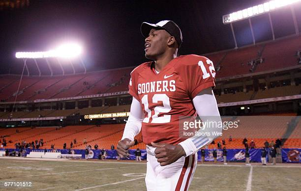 Oklahoma Sooners quarterback Paul Thompson celebrates on the field after their win against the Nebraska Cornhuskers in the Big 12 Conference...