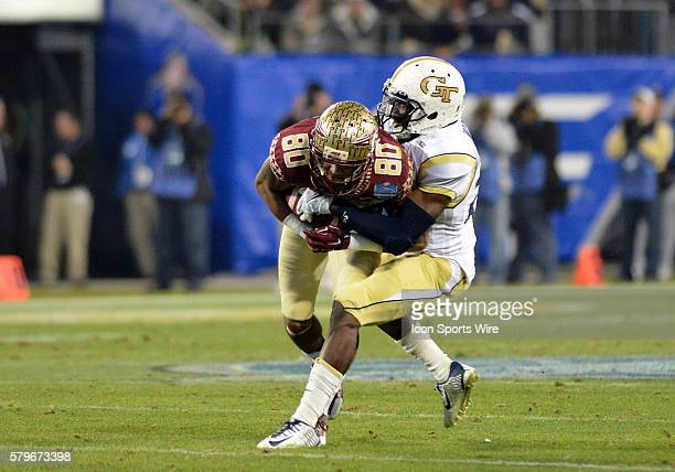 06 Dec 2014 Florida State Seminoles wide receiver Rashad Greene is tackled after making a catch in the third quarter of the ACC Championship Game...