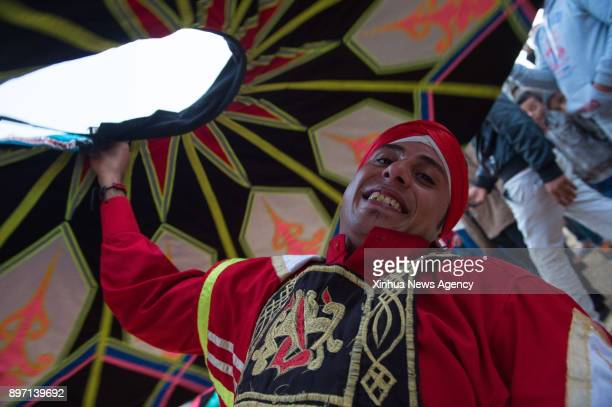FAYOUM Dec 21 2017 A local dancer performs Sufi Dancing to celebrate the annual Sun Festival in the Temple of Qasr Qaroun in Fayoum Governorate some...