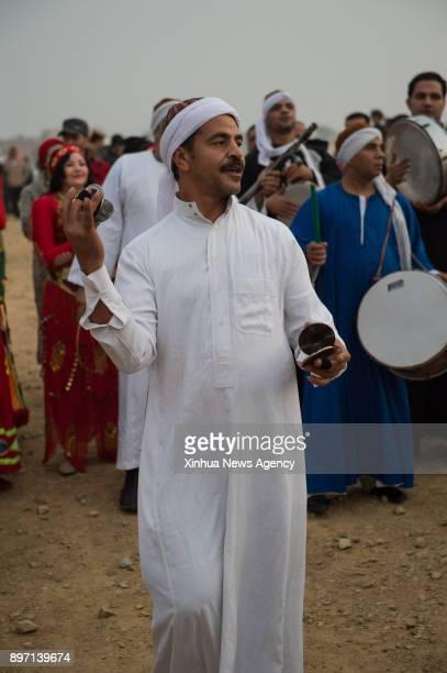 FAYOUM Dec 21 2017 A local musician plays traditional instruments to celebrate the annual Sun Festival in the Temple of Qasr Qaroun in Fayoum...