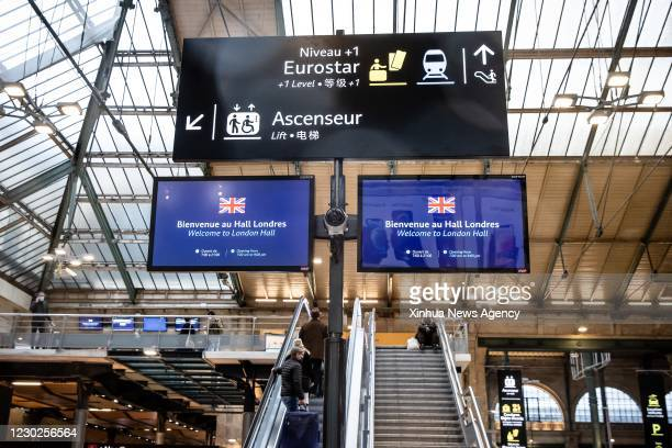 Dec. 21, 2020 -- People enter the boarding area of the Eurostar terminal at the Gare du Nord railway station in Paris, France, on Dec. 21, 2020....