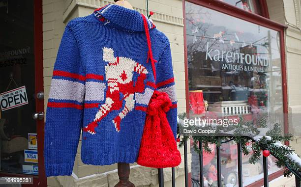 Dec 23 2008 Hockey Sweater hung outside the Store Karen Wilson owner of Karenfound Antiques Unique photos of owner Karen Wilson and some of her...