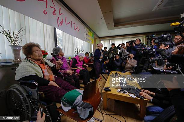 Former South Korean World War II sex slave womens who was forced to serve for the Japanese Army during World War II sits after a meeting with a South...