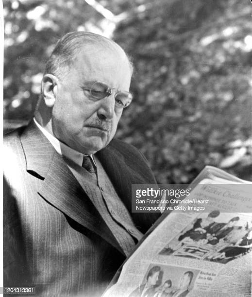 Bank of America founder A.P. Giannini reads the newspaper.