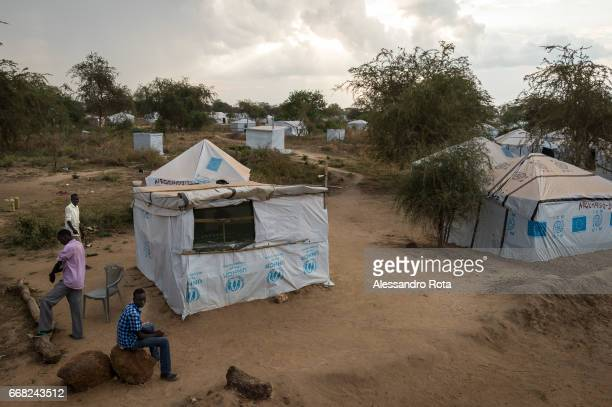 Dec 3 2014 Mingkaman area in Lakes state SouthSudan Internally Displaced People camp site 2 with emergency shelter of UNHR More than 100'000 people...