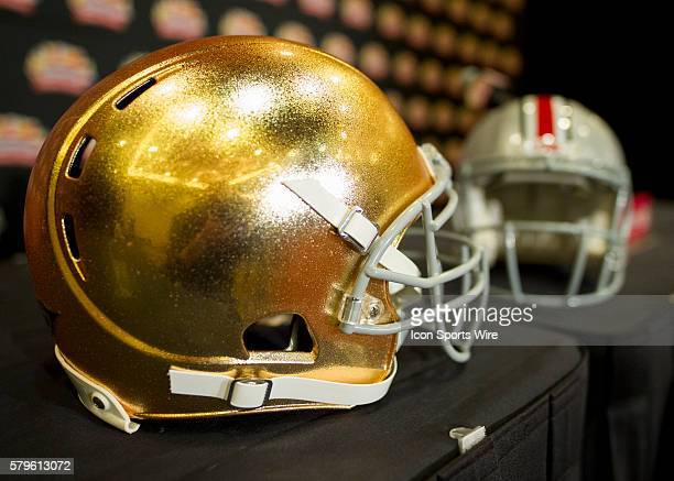 Dec 31 2015 Scottsdale AZ USA Notre Dame Fighting Irish Helmet on display during the Head Coach Press Conference held at the JW Marriott Scottsdale...
