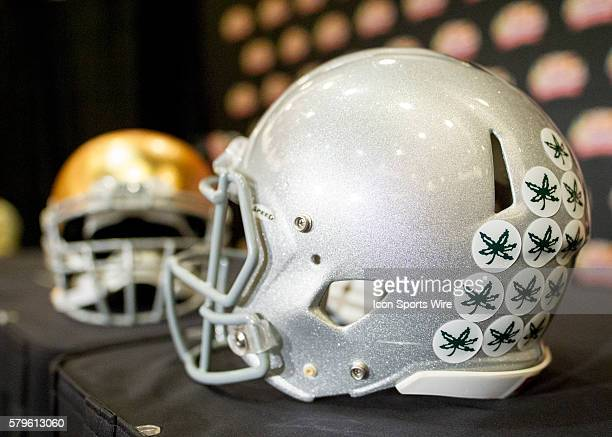 Dec 31 2015 Scottsdale AZ USA Ohio State Buckeyes Helmet on display during the Head Coach Press Conference held at the JW Marriott Scottsdale...