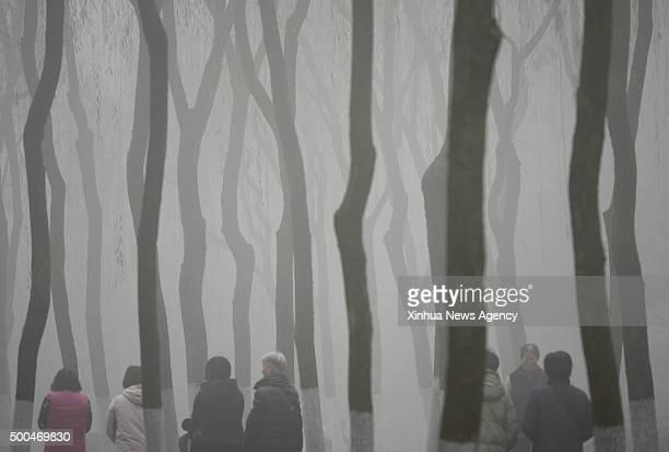 HANGZHOU Dec 8 2015 People walk in fog in Liulangwenying park in Hangzhou capital of east China's Zhejiang Province Dec 8 2015