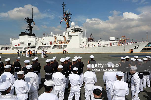 MANILA Dec 9 2016 Members of the Philippine Navy look at the newlyacquired BRP Andres Bonifacio dock at Pier 13 in Manila the Philippines Dec 9 2016...