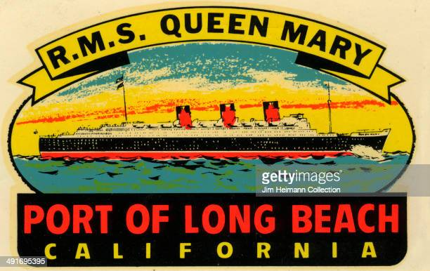 A decal for Long Beach California reads 'RMS Queen Mary Port of Long Beach California' from 1985 in USA