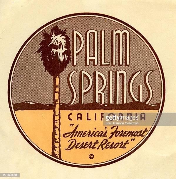 A decal for Palm Springs in California reads 'America's Foremost Desert Resort' from 1945 in USA