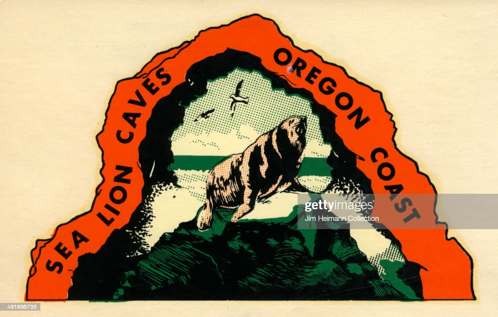 A decal for Sea Lion Caves on the Oregon Coast from 1949 in USA.