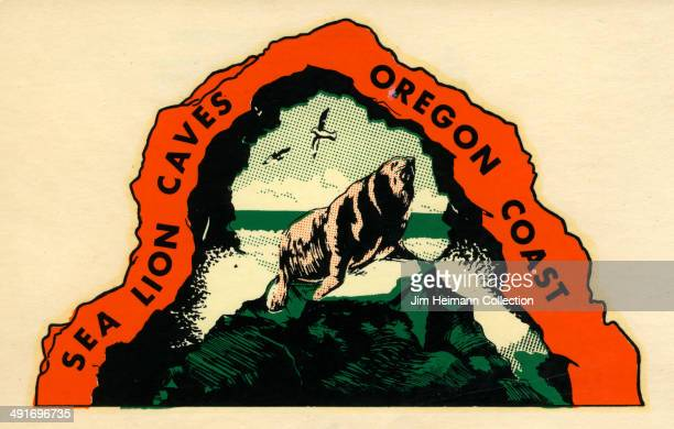 A decal for Sea Lion Caves on the Oregon Coast from 1949 in USA