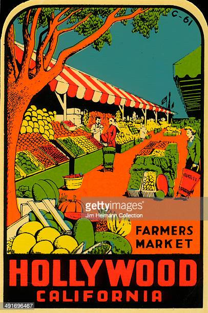 A decal for the Farmers Market in Hollywood California from 1960 in USA