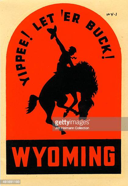 A decal for Wyoming reads 'Yippee Let 'Er Buck' from 1954 in USA