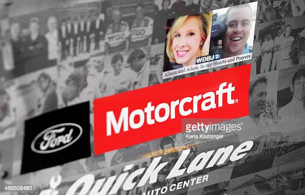 Decal in memory of killed journalists Alison Parker and Adam Ward is seen on the car of Ryan Blaney, driver of the Snap-On Tools Ford, during...