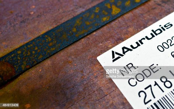 A decal indicates of a copper slab the name 'Aurubis' following manufacture at Aurubis AG on February 7 2014 in Luenen Germany Aurubis is Germany's...