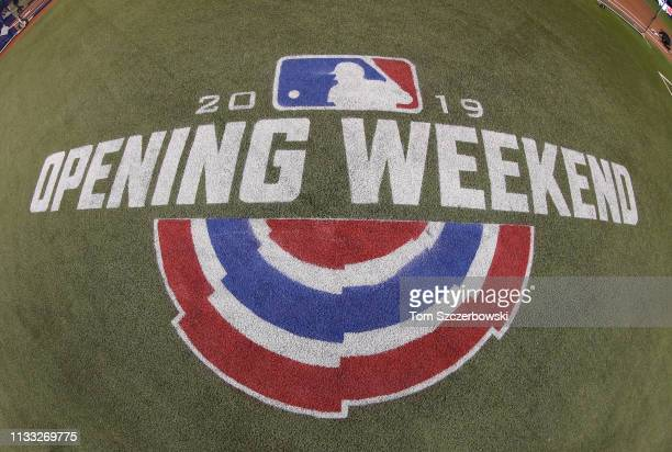 A decal on the turf marks the Opening Day weekend of the 2019 MLB season before the start of the game between the Toronto Blue Jays and the Detroit...