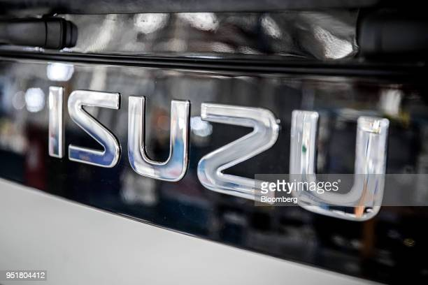 A decal sits on the cabin of a Isuzu NPR NSeries truck on the assembly line inside the Isuzu East Africa Ltd plant in Nairobi Kenya on Thursday April...