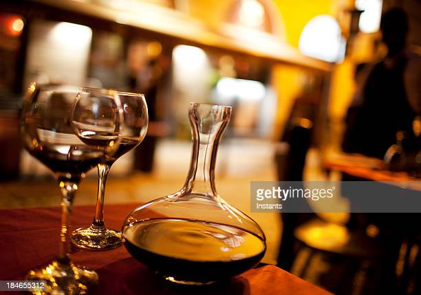 Decanter and wine glasses