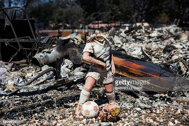 TOPSHOT A decapitated garden statue stands in front of a home destroyed in the Clayton Fire in Lower Lake California August 15th 2016 A northern...