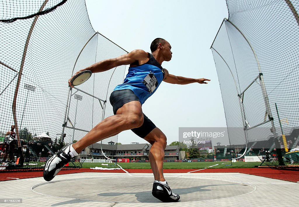 Decathlete Brian Clay competes in the discus throw event during day four of the U.S. Track and Field Olympic Trials at Hayward Field on June 30, 2008 in Eugene, Oregon.