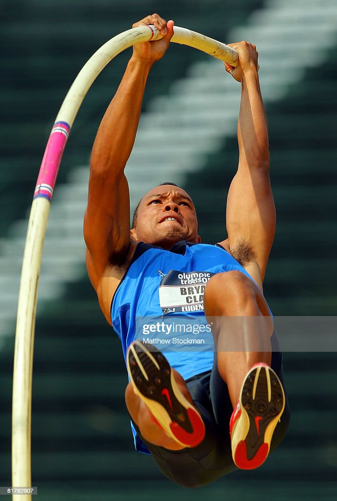 Decathlete Brian Clay competes in the pole vault event during day four of the U.S. Track and Field Olympic Trials at Hayward Field on June 30, 2008 in Eugene, Oregon.