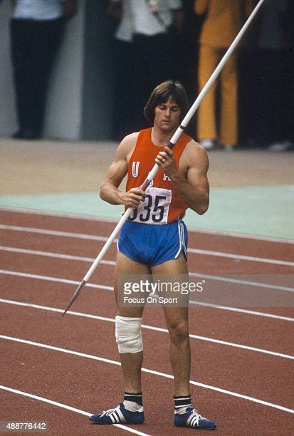 Decathlete Bruce Jenner prepares to throw the javelin during the 1976 Summer Olympic Games at Olympic Stadium in Montreal Quebec Jenner won the gold...