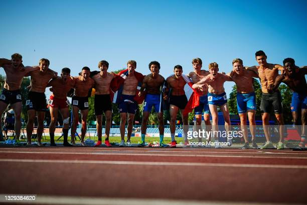 Decathletes pose for a photo during European Athletics U20 Championships Day 4 at Kadriorg Stadium on July 18, 2021 in Tallinn, Estonia.