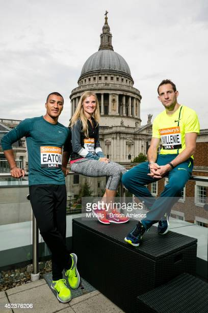 Decathlon Olympic gold medallist and world record holder Ashton Eaton of the United States world heptathlon silver medallist Brianne TheisenEaton of...